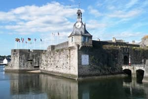 Harbour wall and clock tower in Concarneau