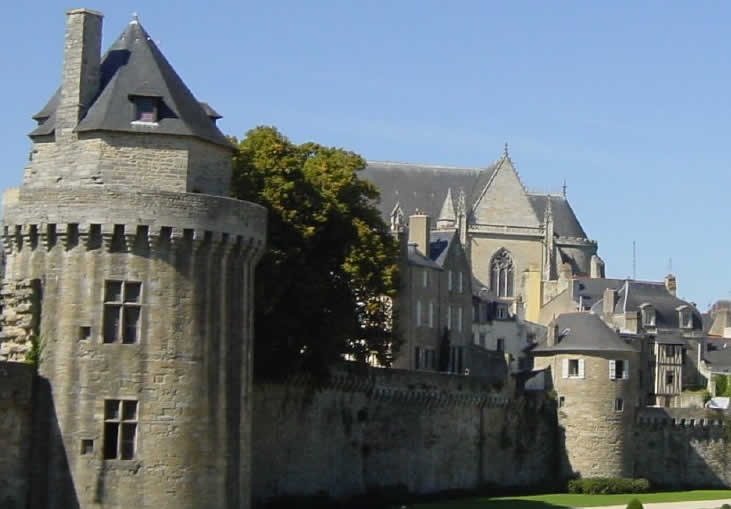 Ramparts around the old town of Vannes in Morbihan, Southern Brittany
