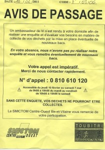 Paying for recycling collections in France