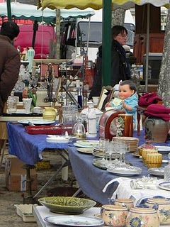 Trinkets for sale in a Loire Valley brocante