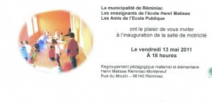 Invitation to opening of Motor Skills Room, Reminiac, Brittany