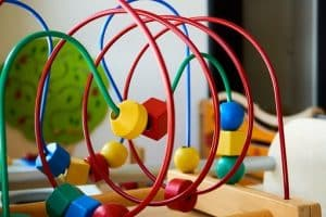 children's toy-metal motor loop-wooden base