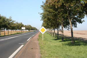 French road signs - yellow diamond with white border