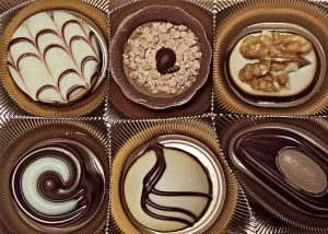 box of 6 decorated individual chocolates