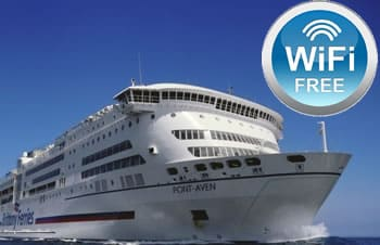 Brittany Ferries Pont-Aven ship with wifi badge