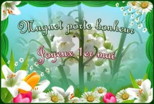 Muguet porte bonheur-joyeux 1er mai card with lily of the valley and daisies