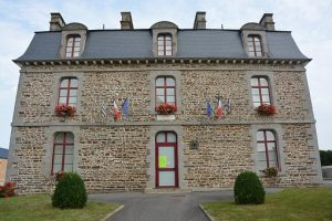 French stone building-mairie-French flags